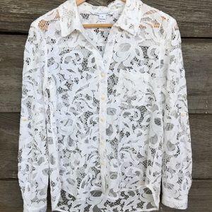 DVF Lorelei NWOT  lace button down  size 10
